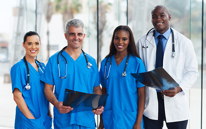 Medical staff of doctors and nurses